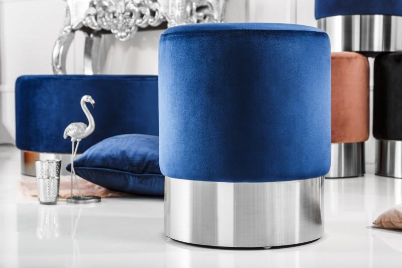Moderní barokní stolička 35cm modrá stříbrná / 39605