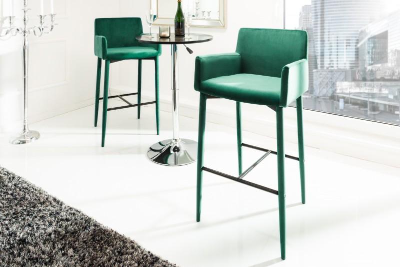 Barová židle Milano smaragdově zelený samet / 39418