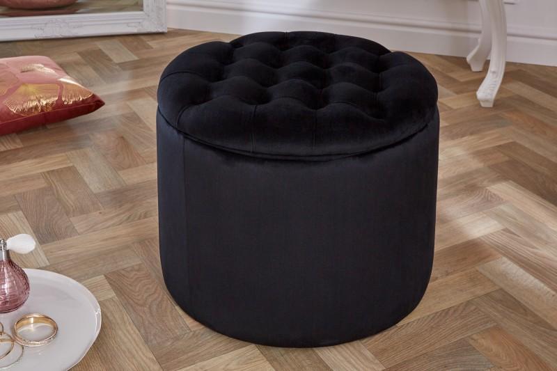 Stolička moderní barokní 50cm černý samet / 39798