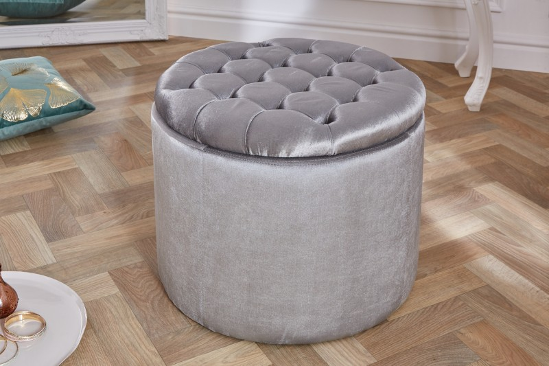 Stolička Moderní barokní 50cm stříbrný samet / 39799