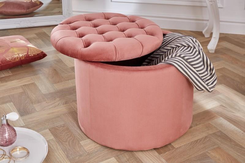 Stolička Moderní barokní 50cm starý růžový samet / 39800