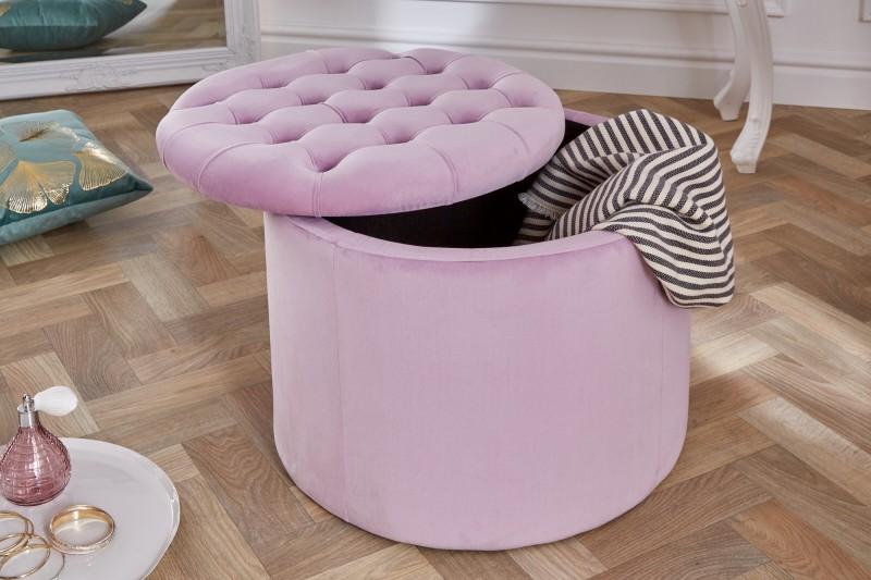 Moderní barokní stolička 50cm lila velvet / 39801