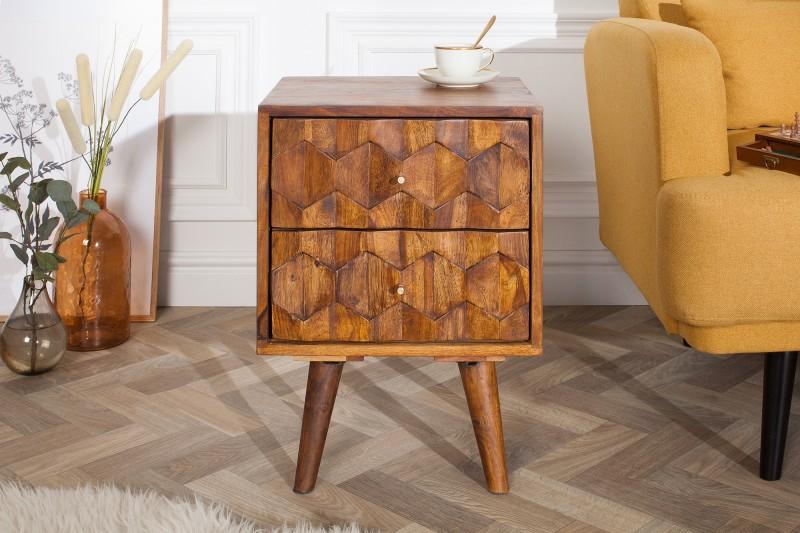 Noční stolek Viamo 40cm x 56cm - Sheesham / 39745 - 2ks skladem
