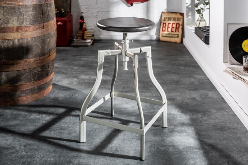 Barová židle Iron Craft 60-74cm - šedá, mango / 39456 - 1ks skladem