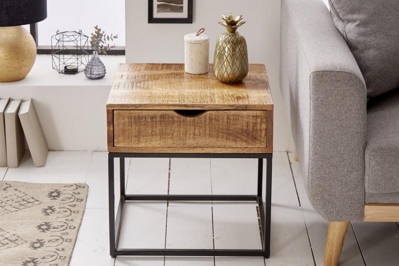 Odkládací stolek Iron Craft 45cm - přírodní mango / 39589 - 1ks skladem