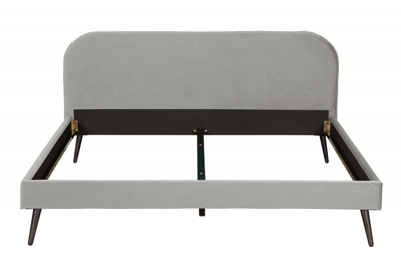 Slavná postel 140x200cm stříbrná šedá sametová / 39696