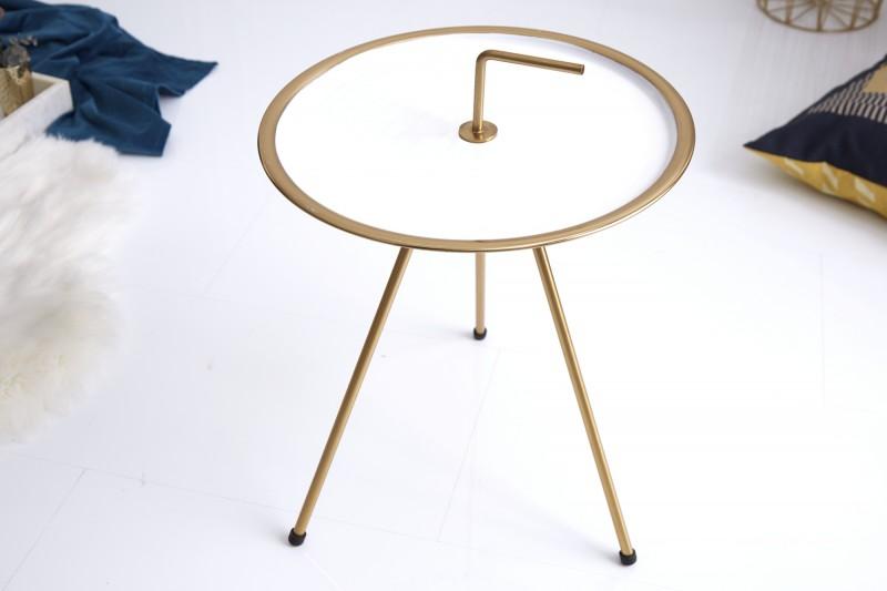 Stolek Runden 42cm - bílá, zlatá / 39491