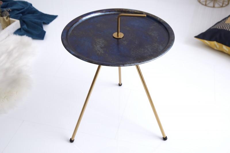 Stolek Runden 42cm - modrá, zlatá / 39493