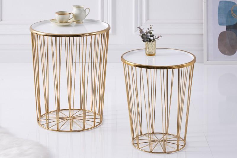 Konferenční stolek Storage II - bílá, zlatá / 39496