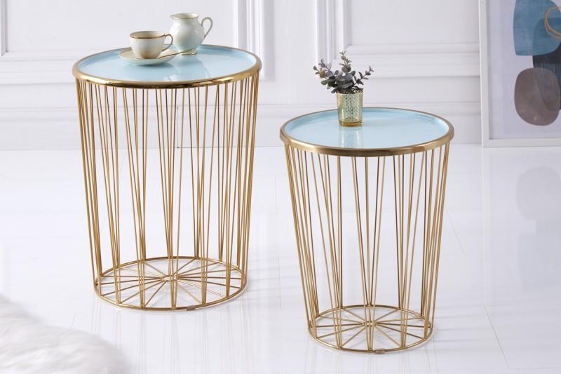Konferenční stolek  Storage - tyrkysová, zlatá / 39497