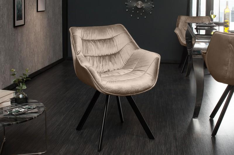 Dutch Comfort sametová židle greige / 38596