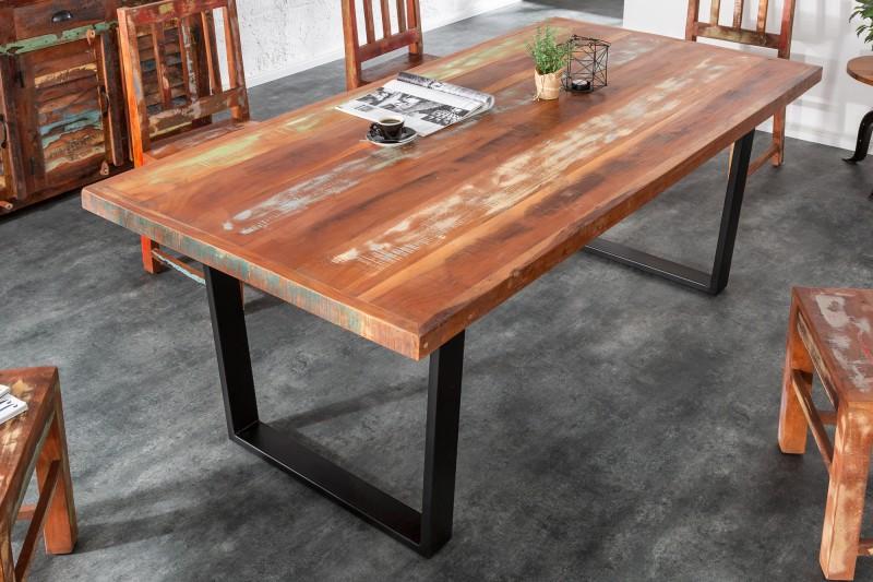 Jídelní stůl Jakarta 160 cm barevné recyklované dřevo / 39815