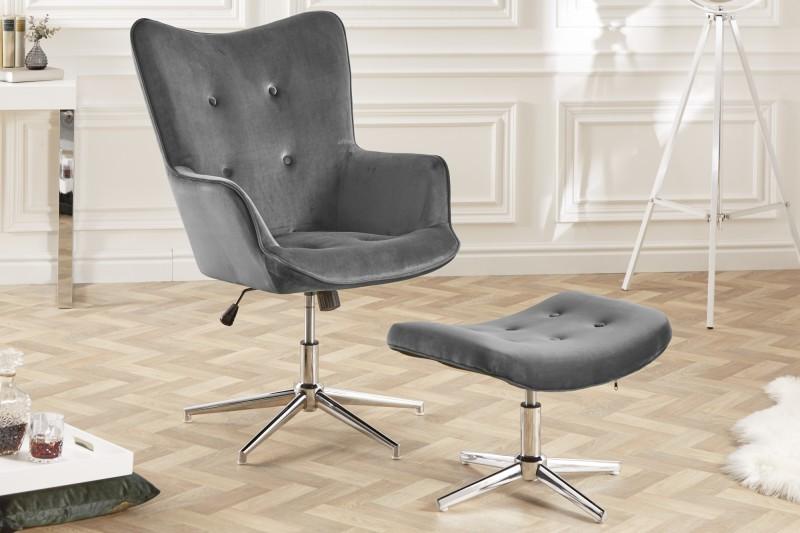 Otočná stolička Lounger šedý samet / 39513