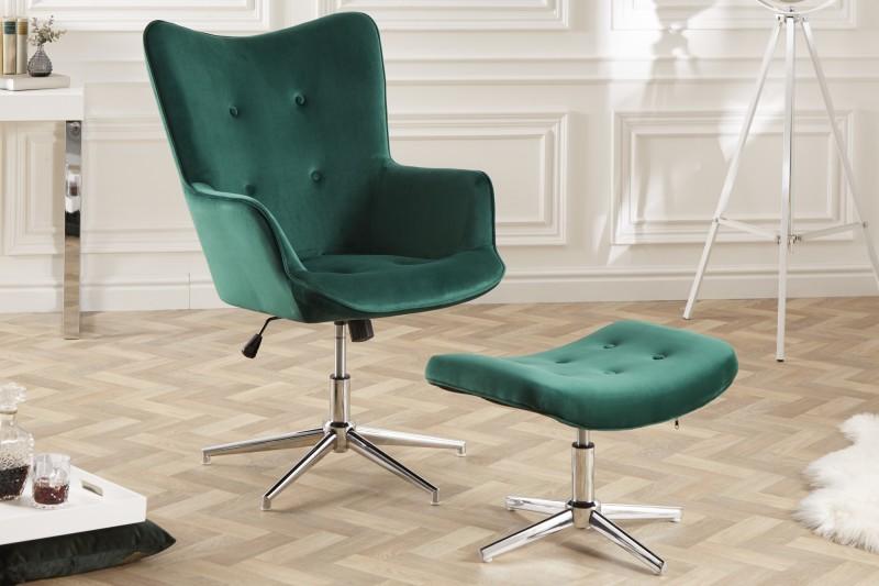 Otočná stolička Lounger smaragdově zelený samet / 39514