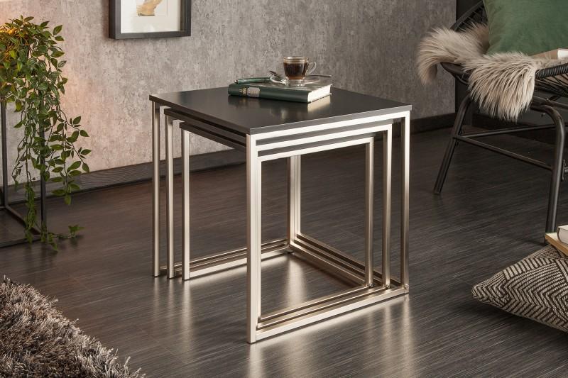 Konferenční stolek Juliet 3ks - černý, chrom / 37116