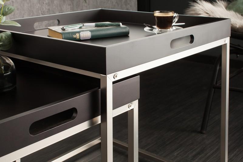 Sada bočních stolů 2 černé přihrádky / 39836