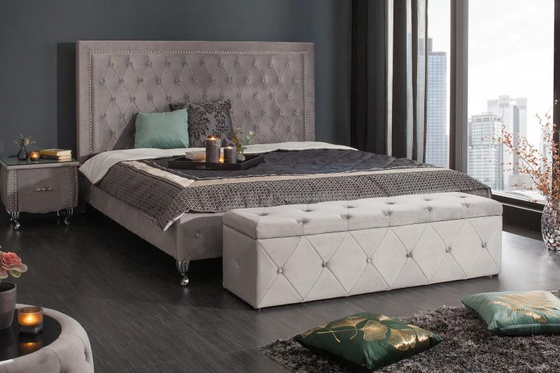 Luxusní lavice Paradise 140cm x 41cm - stříbrno šedá, samet / 39768