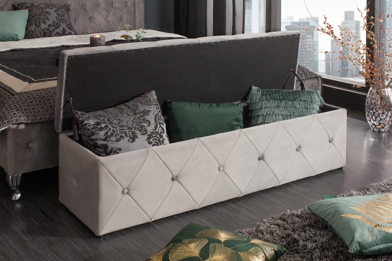 Extravagancia lavička 140cm stříbrná šedá sametová / 39768