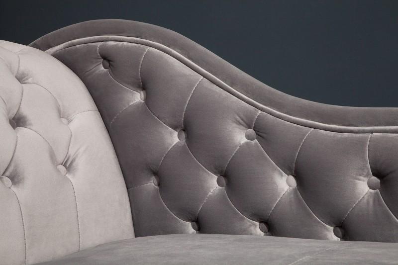 Lenoška Chesterfield 170cm - stříbrná, šedá / 38389