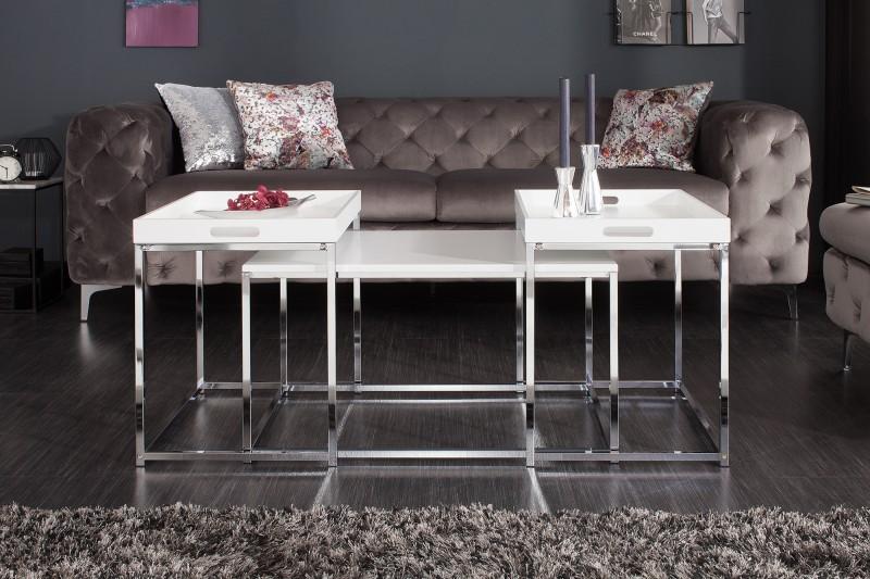 Konferenční stolek - sada 3ks bílá / 39833