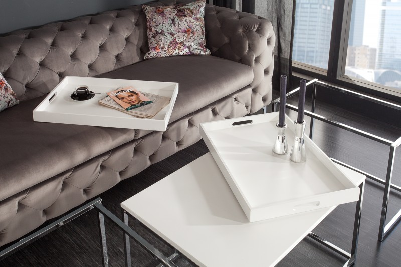Konferenční stolek Juliet 3ks - bílý, chrom  / 39833