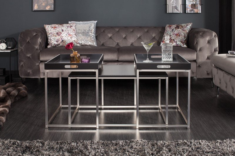Konferenční stolek - sada 3ks černá / 39834