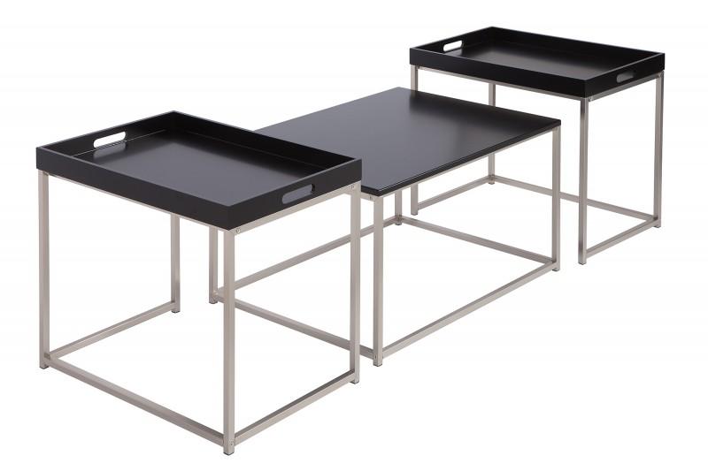 Konferenční stolek Juliet 3ks - černý, chrom  / 39834