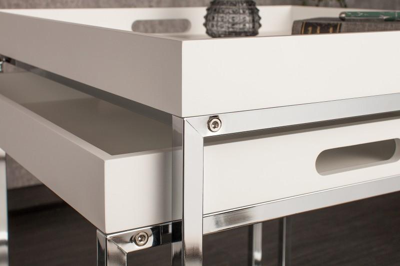 Konferenční stolek Juliet 2ks - bílý, chrom / 39835