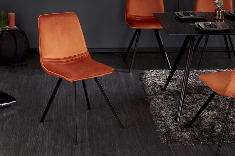 Jídelní židle Cindy - oranžová, samet / 39919