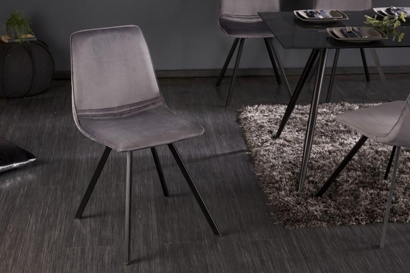 Amsterdam tmavě šedá sametová židle / 39920