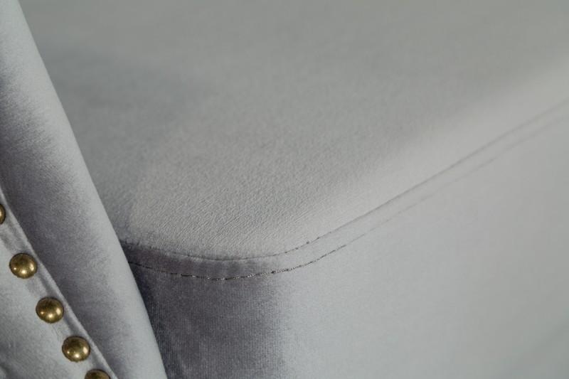 Křeslo Chesterfield Ears - stříbrno-šedé, samet / 39849