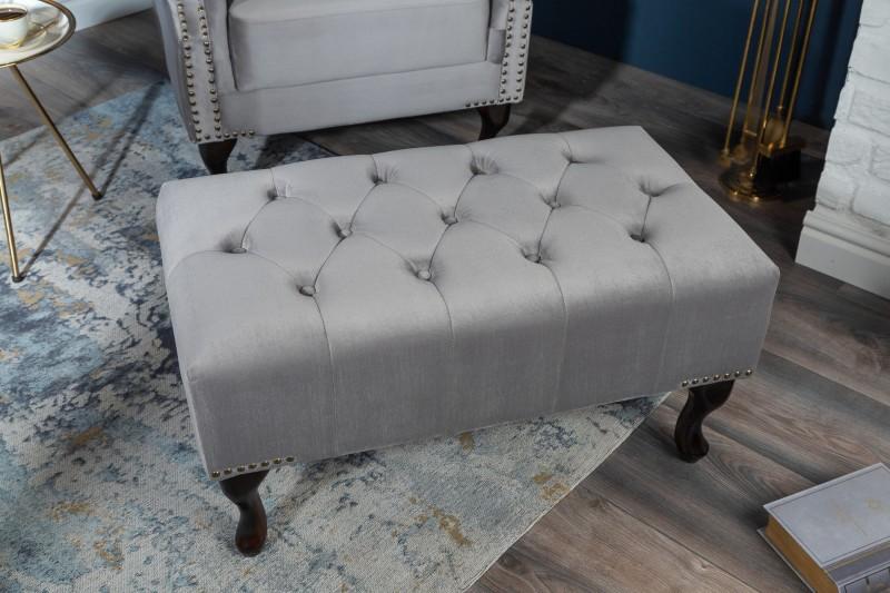 Fuhocker Chesterfield stříbrný šedý samet / 39850