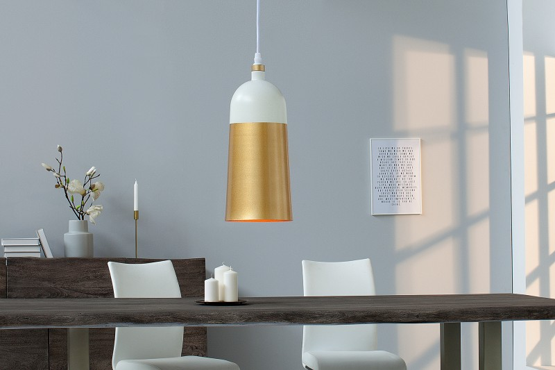 Závěsné světlo Benicia I - bílá, zlatá / 39966