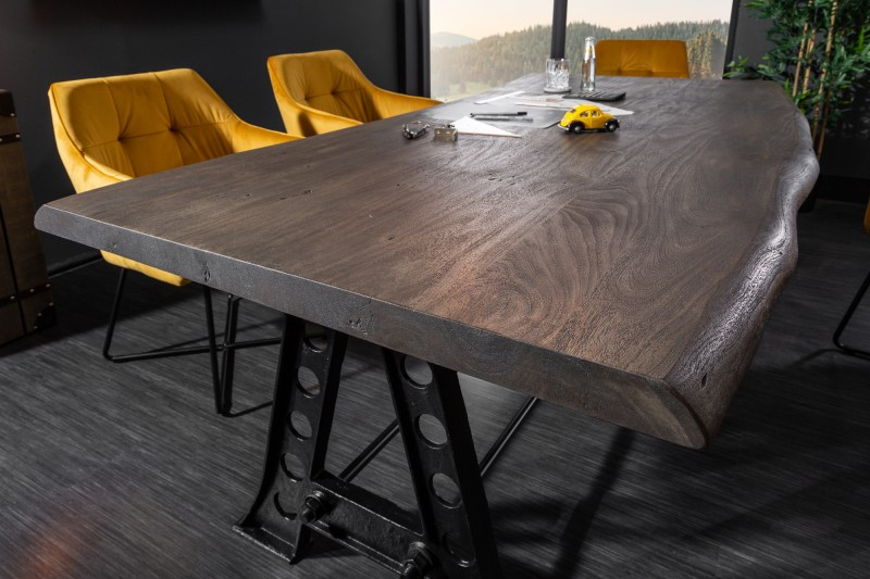 Jídelní stůl Accra Industrial 220cm x 100cm - akát, šedý / 39756