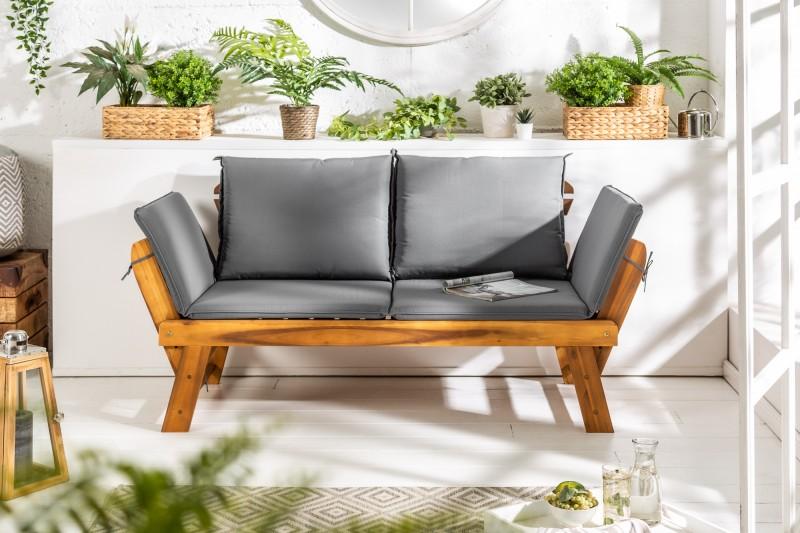 Zahradní lavička Gardens 68cm x 152-190cm - přírodní akát / 37568