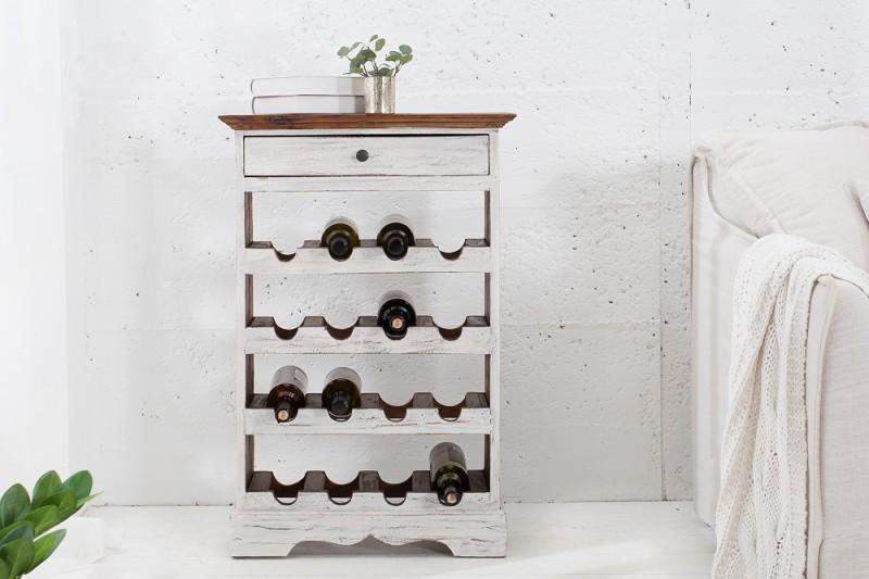 Stojan na víno Mannon - bílý, mahagon / 38298