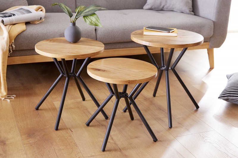 Side table Tovární sada 3 divokého dubu / 39703