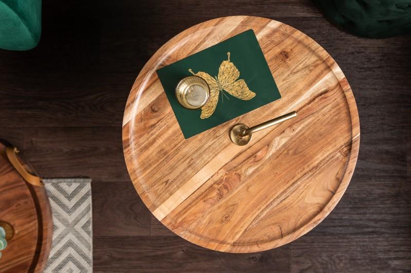 Stolek Runde 41cm - akát, zlatá / 39502