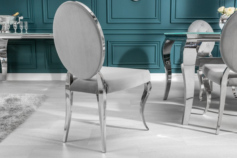 Jídelní židle Giacomo II - šedá, samet / 38342