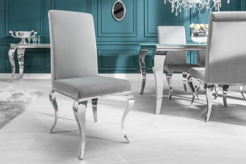 Židle moderní barokní ušlechtilá šedá / 37906