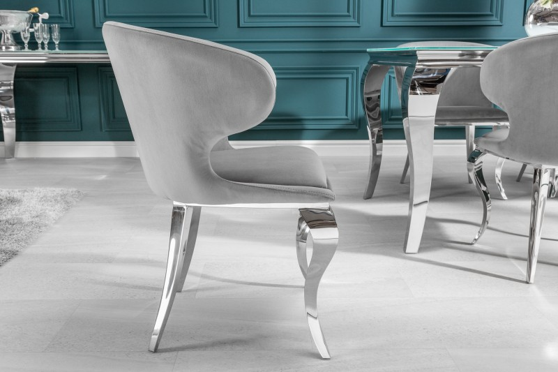 Jídelní židle Giacomo - šedá, samet / 38872 - 1ks skladem