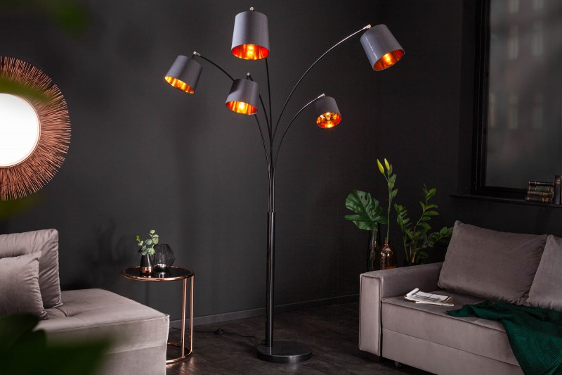 Stojací lampa Carla 202cm - černá, zlatá / 40036