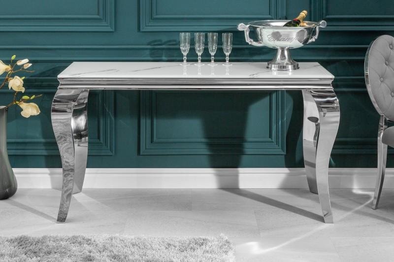 Toaletní stolek Giacomo 145cm x 50cm - mramor, stříbrná / 39997