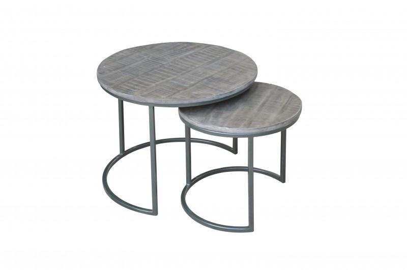 Sada bočních stolů 2 mango šedá / 39657