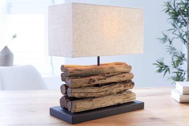 Stolní lampa z naplaveného dříví Perifere béžová / 19477