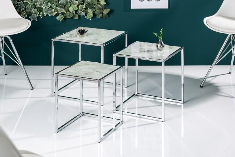 Konferenční stolek Juliet 3ks - sklo, šedý mramor / 40047