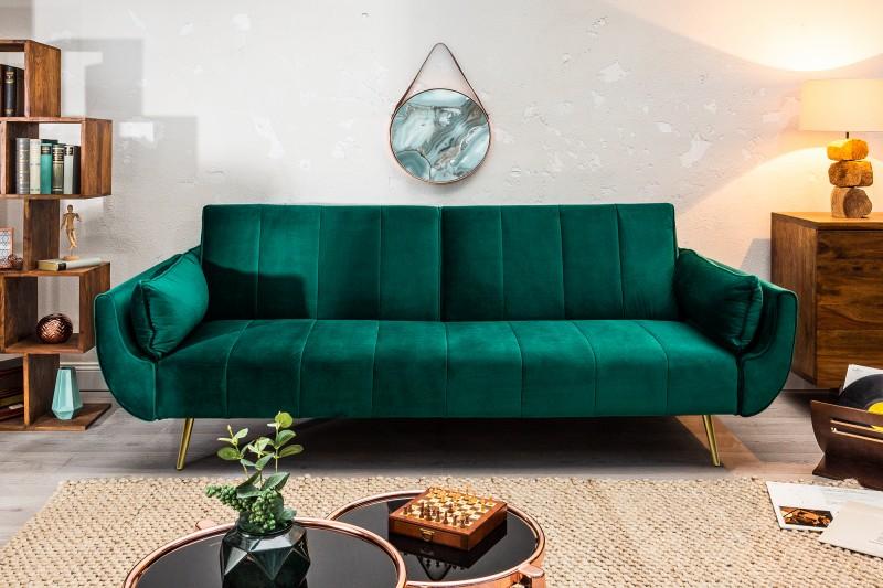 Pohovka Carina Gold 215cm - smaragdová, samet / 40090