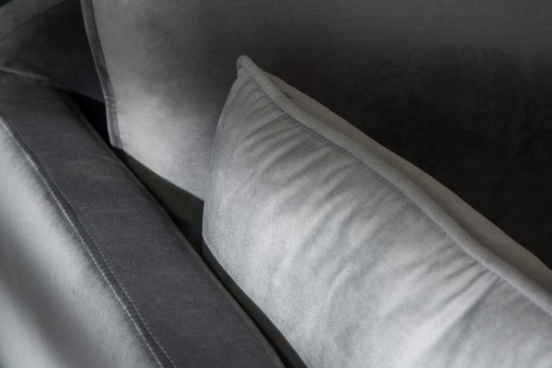 Pohovka Lilly 260cm - stříbrno-šedá, sametová / 40092