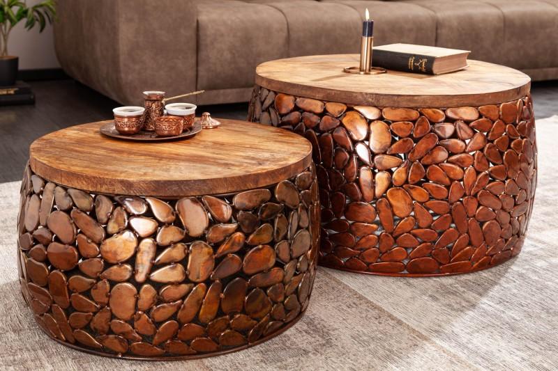 Kámen Mosaic konferenční stolek, sada 2 starožitné mědi / 39891