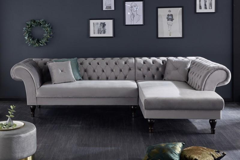 Pohovka Euphoria 290cm - stříbrno-šedá, samet / 40149